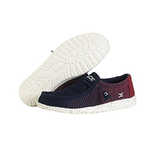 Dude Shoes Men's Wally Mesh Navy / Red Gradient Blue