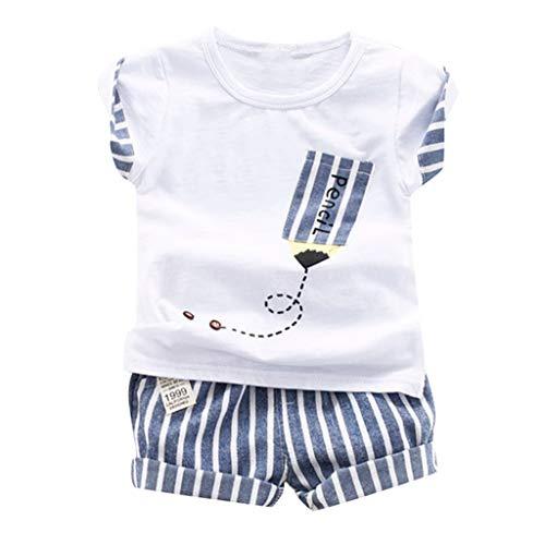 (JUTOO 2 Stücke Set Kleinkind Kind Baby Jungen Cartoon Gestreiften Print Tops + Shorts Outfits Sets Sommer (Weiß,110))