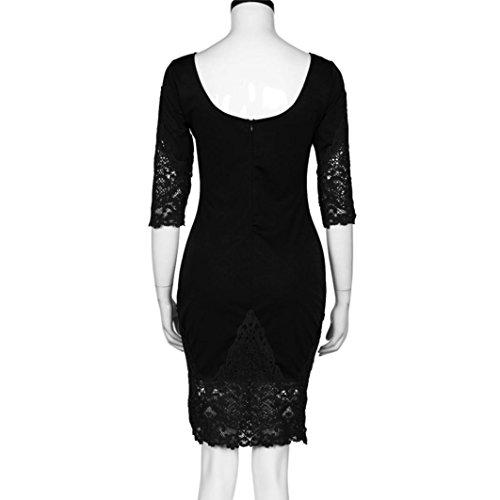 Robe de cocktail Party, Transer ® Nouvelles femmes Sexy demi manchon O-cou court Mini robe en dentelle Noir