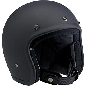 Biltwell Inc. Bonanza Helmet, Distinct Name: Flat Black, Gender: Mens/Unisex, Helmet Category: Street, Helmet Type: Open-face Helmets, Primary Color: Black, Size: Md BH-BLK-FL-DOTMD by Biltwell Inc.