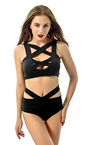 Women's Braces Cross Chest Bandage Two Piece Monokini Swimsuit Swimwear Black-M