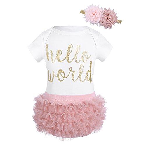 Tiaobug Baby Prinzessin Kostüm Mädchen Kurzarm Strampler Body mit Spruch Tops+Unterhose Rüschen+Haarband Blumen Kopfband Rosa 62/3 ()