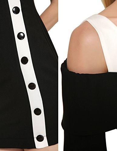 Modetrend Femmes Robe de Crayon Moulante Casual Mariage Cocktail Extensible Robe de Partie Bureau Robes Sans Manches Noir