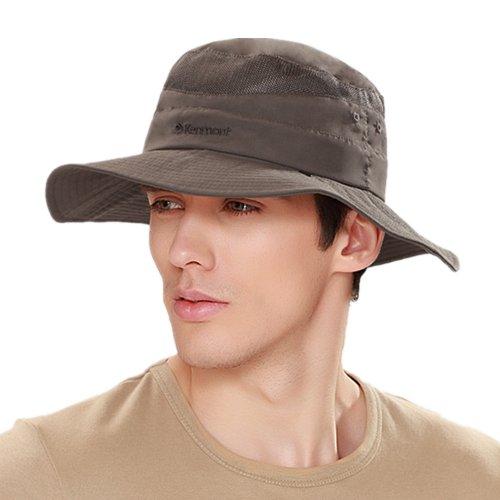 Kenmont hommes d'été large bord Ouest Cowboy Visor Sun Cap Hunt randonnée Fishmen Hat (gris brun)