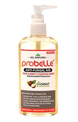 Probelle Jabón antifúngico a partir de aceite de coco puro con protección antimicrobiana. Ayuda a las áreas de la piel afectadas. 9.5 oz / 280 ml