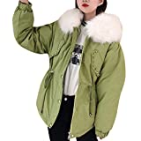 LILIGOD Damenmode Daunenjacke Wolle Reißverschlusstasche Coat Warme Winterjacke Outwear Kordelzug Daunenjacken Hoodie Taille Lose Kurzer Mantel Einfarbig Wild Jacken Plüschmantel