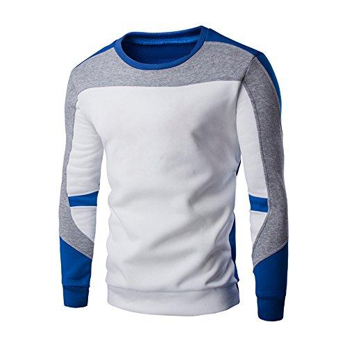 Xmiral Herren Sweatshirt Pullover Langarm Patchwork Tops Bottoming Shirt O-Ansatz Warm bleiben(M,Weiß)
