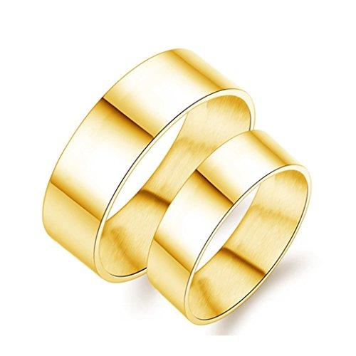 Bishilin Acciaio Inossidabile 8MM(Uomo) | 6MM(Donna) Plain Placcato Oro Anelli Fedine per Coppia Misura 17