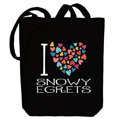 Idakoos I love Snowy Egrets colorful hearts - Tiere - Bereich für Taschen - Snowy Egret Tiere