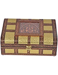 "Martiza Handicrafts Handmade Olive Wood Jewellery Box for Women (11"" x 8"", Brown & Gold)"
