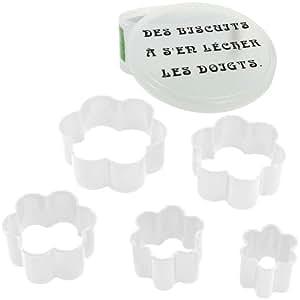 Promobo - Coffret Lot 5 Emporte Piece Patisserie Biscuit Humour Forme Fleur