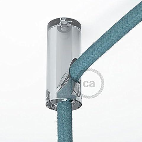 Kit de décentralisation, crochet au plafond transparent pour câble électrique textile avec arrêt. - (Soffitto Cavo)