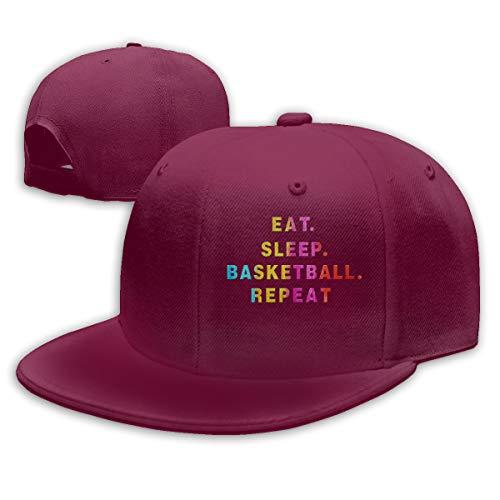 Abigails Home Essen Sie Schlaf Basketball-3 justierbarer Baseballmütze-Hip-Hop-Hut-Mann-Sport kühle Art und Weise dunkelrot -