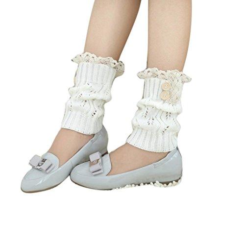 Igemy 25cm Winter Wärmer Frauen kurze Spitze Häkelarbeit Knit Bein Stiefel Socken Spitze Manschetten (White) (Stretch-knit-bein-wärmer)