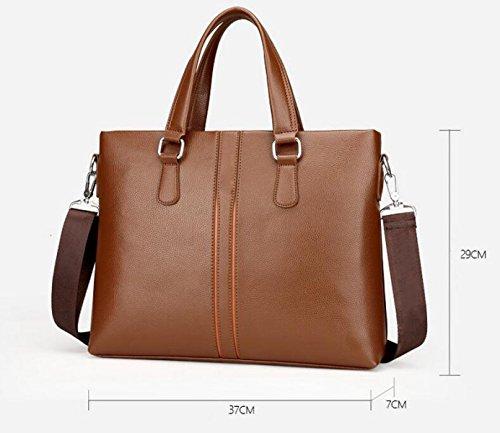 Männer Tasche Leder Handtasche Horizontalen Abschnitt Aktenkoffer Computer Tasche Datei Paket Casual Brown1
