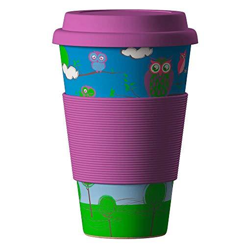 Bambus Becher wiederverwendbare Kaffeetasse mit dichtem Deckel, Trinkloch und Silikonhülle - Bamboo Eco ECoffee Cup - lebensmittelecht und spülmaschinenfest 400 ml Balev
