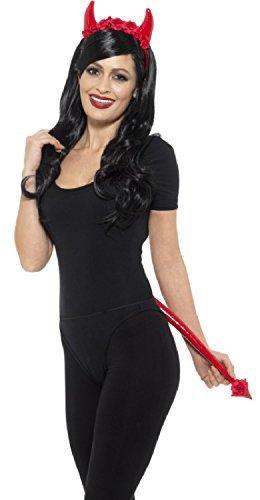 Fancy Me Damen Deluxe Lack-Optik mit Blumen Teufel Hörner Stirnband & Schwanz Halloween Junggesellinnenabschied Karneval Kostüm Kleid Outfit Satz