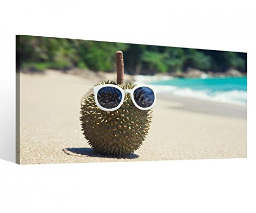 Leinwandbild 1 Tlg Durian Meer Strand lustig Brille Urlaub Leinwand Bild Bilder Druck Holz gerahmt 9V341, 1 Tlg BxH:60x30cm
