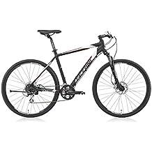 Bicicleta Híbrida Ferrini FASTER de hombre con marco de aluminio, ruedas de 28, Shimano Acera 27 velocidades, negro