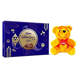 Cadbury - Valentine Gift Combo with Celebrations Premium Assorted Chocolate Gift Pack, 286.3g & A Beautiful Teddy