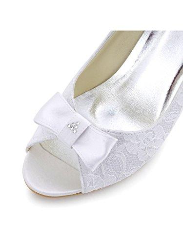 ElegantPark WP1414 Donna Pizzo Peep Toe Carco Strass Tacco Alto Zeppa Partito Scarpe Da Sposa Avorio