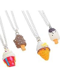 MJARTORIA 4 Collane Amicizia da Donna con Ciondolo Ice Cream Gelato per i Migliori Amici Multicolori