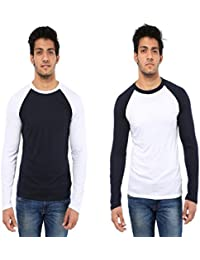 Five Stone Combo Pack Of 2 Solid Round Neck Grey & White Coloured With Full Sleeve T-Shirt For Men
