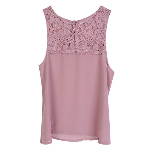 Dihope Femme Été Débardeur T Shirt sans Manches Tee-Shirt Col Rond Gilet Casual Top à Sangle Rose