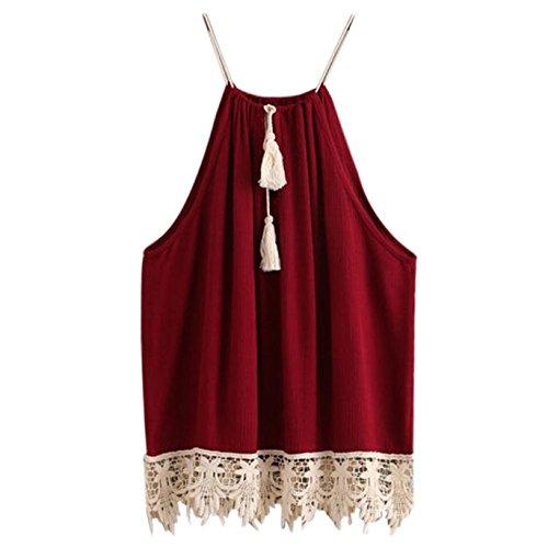 Damen Frauen Lace Trimmed Tasselled Drawstring Blouse Tank Tops T-Shirt Mode Rot Top Sommer Patchwork Ärmelloses Bluse Trägershirt Weste -