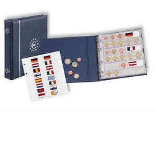 Numis Euro-Münzenalbum: Komplett-Album im blauen 4-Ring-Binder aus Kunststoff inkl. 5 Hüllen NH 24 (für 15 komplett EURO-Kursmünzensätze) und farbigem ... Euro-Zeichen auf dem Albumdeckel