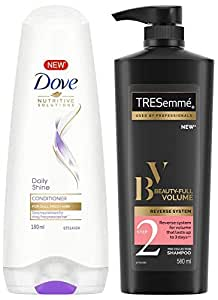Dove Daily Shine Conditioner, 180ml And TRESemme Beauty Volume Shampoo, 580ml