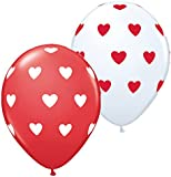 Beautiful Red and White Love Heart Design Qualatex Balloons For That Special Loved One - Ideal for Valentines Day, Anniversaries, Proposals, Wedding's, Birthday's, Special Occasion's - 10 Balloons in One Pack.