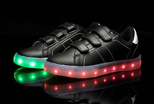 Santiro USB Aufladen LED Schuhe Blinken Fashion Sneakers für Unisex-Kinder Jungen Mädchen Geschenke. Schwarz