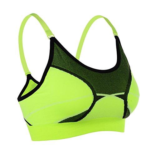 EUFANCE Donne Ragazze Stampa Antiurto Regolabile Yoga Reggiseno Sportivo Sports Bra Esecuzione Palestra Esercizio Fitness Dance Canottiera Verde