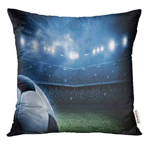 Djydky fodera per cuscino da calcio pallone da calcio verde da calcio in arena stadium federa decorativa home decor quadrato 18x18 pollici federa
