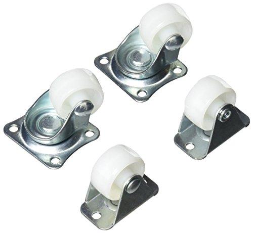 Sourcingmap® Rollen-Set, 25 mm Durchmesser, drehbar, auf Metallplatte (1 Set mit 4 Rollen)
