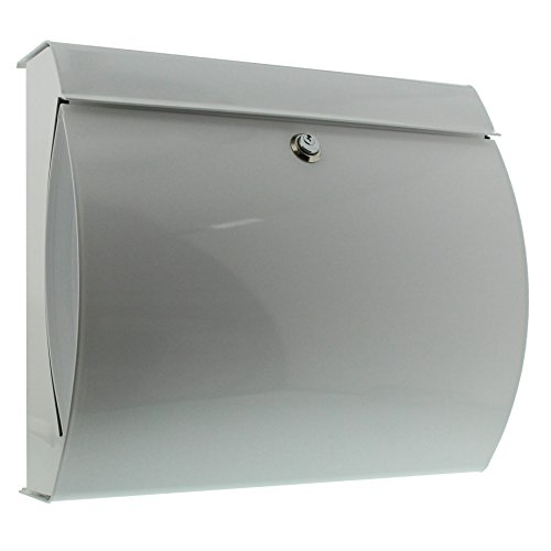 BURG-WÄCHTER, Briefkasten mit integriertem Zeitungsfach, A4 Einwurf-Format, Verzinkter Stahl, Verona 844 W, Weiß