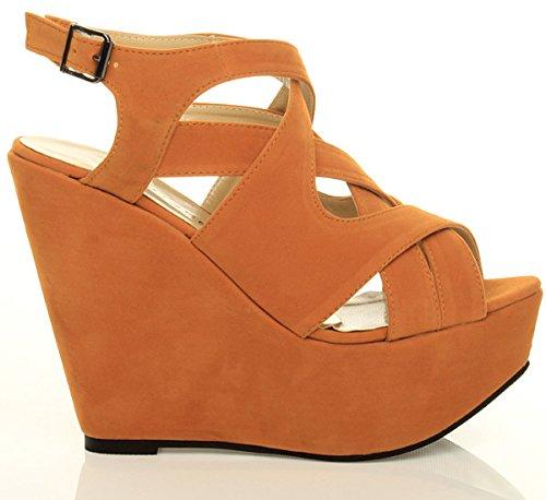 Damen Hohe Keilabsatz Plateau Riemchen Ausgeschnitten Sandalen Schuhe Größe Dunkel Orange