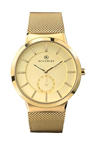 Accurist Men's Quartz Watch with Beige Dial Analogue Display and Gold Plated Stainless Steel Bracelet 7015.01