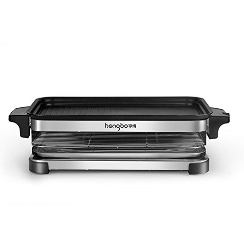 FOOD Art Electric Grill Teppanyaki Double Layers Table Barbecue GrillNon-Stick Cooking Surface 6 People and Aabove [1600W]
