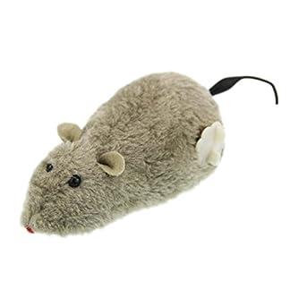 Da.Wa 1 pcs Cute Pet Cat Catch Toy Plush Big Mouse Toy with Clockwork Gear Pet Indoor Fun(Random Color) 11
