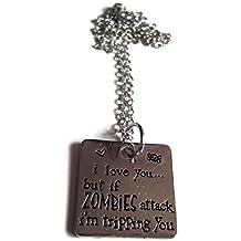 Halo accesorios bañado en plata I Love You... Pero si zombis Attack I 'm tropezando You.. Collar