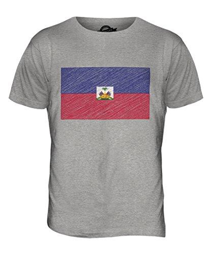 CandyMix Haiti Bandiera Scarabocchio T-Shirt da Uomo Maglietta Marne Grigio