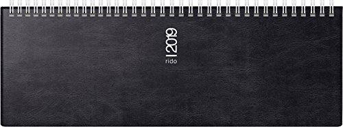 rido/idé 703614290 Tischkalender/Querterminbuch septant, 2 Seiten = 1 Woche, 305 x 105 mm, Schaumfolien-Einband Catana schwarz, Kalendarium  2019, Wire-O-Bindung