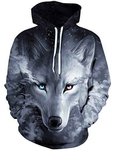 Loveternal Herren 3D Kapuzenpul Galaxy Wolf Hoodie Langarm Fleece Pullover Sweatshirt für Teen Jungen Mädchen L/XL