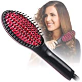 PETRICE Hair Straightener Brush, Perfectday Ceramic Heating Straightening Irons Brush Anti Scald, Static, Detangling and Silky Straight