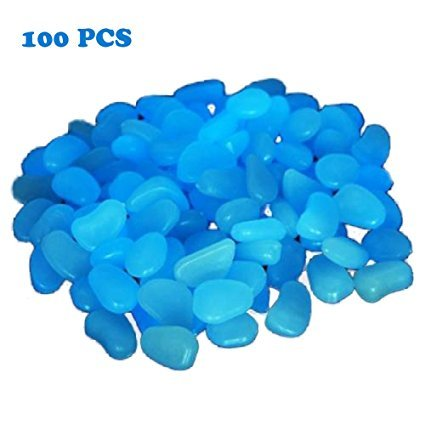 CHRISLZ 100 PCS Man-made Glow Pebbles Stein leuchtende dekorative Steine ??f¨¹r Garten Gehweg oder Brunnen Aquarium(blue)