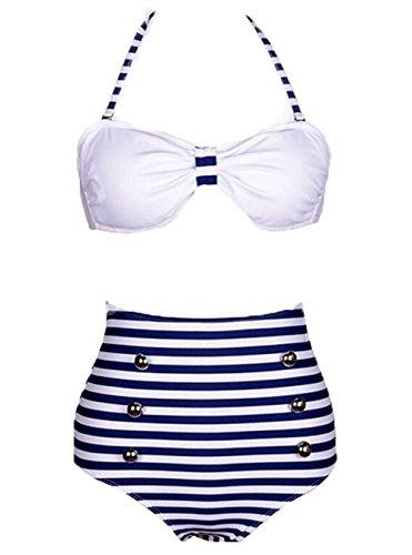 Bandeau One Piece Suit (Streifen Damen Retro Push Up Bandeau Bikini Hoher Taille Push Up Bikini Set Badeanzug Strand Swimsuit)