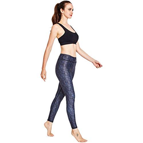 COOLOMG Damen Leggings Yoga Capris Lang Hosen Kompression Sport Trainingshose S M L XL Schwarzpunkt
