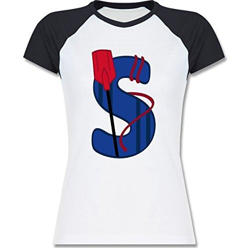 Anfangsbuchstaben - S Schifffahrt - zweifarbiges Baseballshirt / Raglan T- Shirt für Damen Weiß/